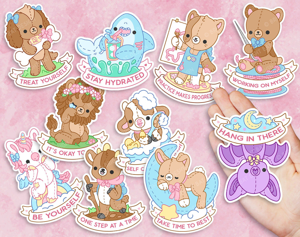 Self Care Plushie Pals Kawaii Vinyl Sticker Set