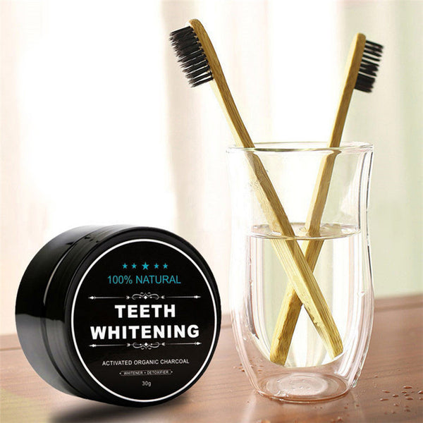Activated Charcoal Whitening Powder with Toothbrush Set