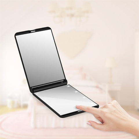 The Portable Foldable 8-LED Lighted Makeup Mirror