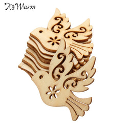 KiWarm Exquisite DIY Crafts 10pcs/lot Handicraft Bird Die Cutting Wood Angle DIY Scrapbook Wood Crafts Accessories 38mm*36mm