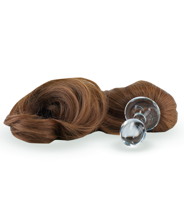 Brown Crystal Minx Detachable Faux Pony Tail Plug
