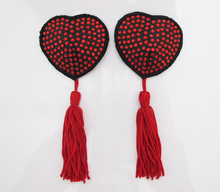 Heart Shaped Nipple Tassels With Rhinestones