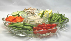 Ginger Sesame Dip with fresh sugar snap peas, mushrooms, green beans, carrots, yellow squash and more