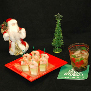 Shrimp and Melon Canapés with cocktail Christmas