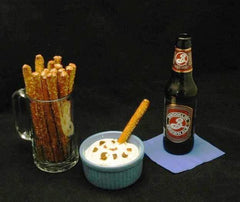 Pretzel logs with White Cheddar Horseradish Dip