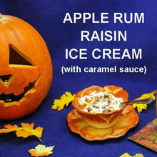 Load image into Gallery viewer, Apple Rum Raisin Ice Cream with caramel sauce Fall