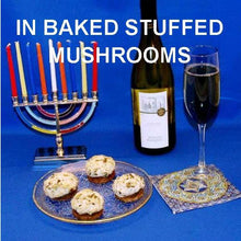 Load image into Gallery viewer, Baked Artichoke Spinach Dip stuffed mushrooms, served with red wine Hanukkah