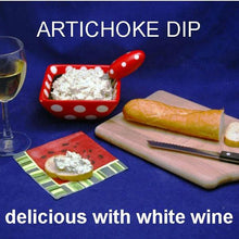 Load image into Gallery viewer, Cold Artichoke Dip on Baguette served with white wine Summer