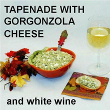 Load image into Gallery viewer, Artichoke and Gorgonzola Cheese Tapende on baguette slice with white wine Fall
