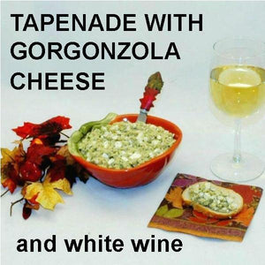 Artichoke and Gorgonzola Cheese Tapende on baguette slice with white wine Fall
