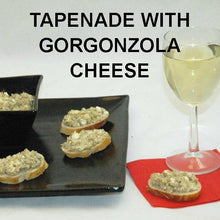 Load image into Gallery viewer, Artichoke Gorgonzola Cheese Tapenade on baguette, served with white wine