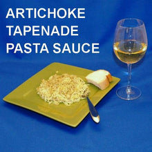 Load image into Gallery viewer, Artichoke and Gorgonzola Cheese Tapenade on spaghetti, served with white wine