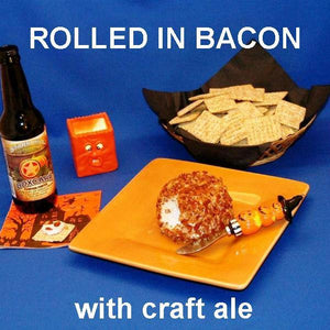 Garlic Blue Cheese Ball rolled in crumbled bacon, served with ale Hallow