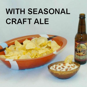 Bacon Praline Dip with Chips, served with fall ale FTBL