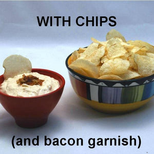 Bacon Praline Dip with Chips and bacon garnish