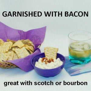 Bacon Praline Dip with Chips and bourbon cocktail