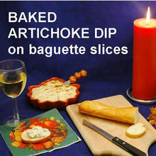 Load image into Gallery viewer, Hot Artichoke Dip on baguette slices with white wine Fall