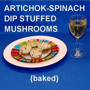Baked Artichoke Spinach Dip Stuffed Mushrooms with white wine
