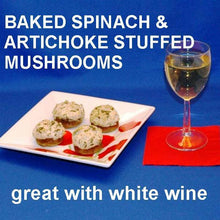Load image into Gallery viewer, Baked Artichoke and Spinach Dip stuffed mushrooms Summer
