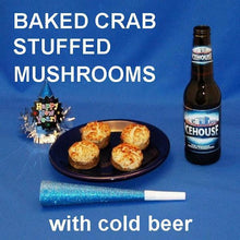 Load image into Gallery viewer, Crab Cake Dip Baked Stuffed Mushroms  with beer New Year's