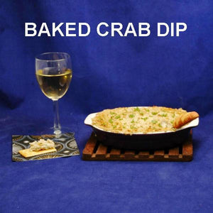 Baked Crab Cake Dip with crackers and white wine