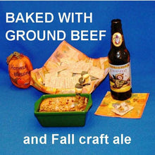 Load image into Gallery viewer, Hot White Cheddar Horseradish and Beef Dip, served with crackers and seasonal craft ale Fall