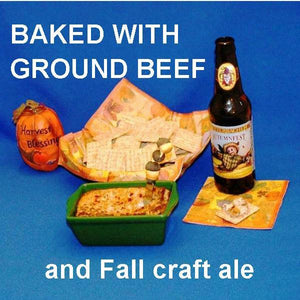 Hot White Cheddar Horseradish and Beef Dip, served with crackers and seasonal craft ale Fall
