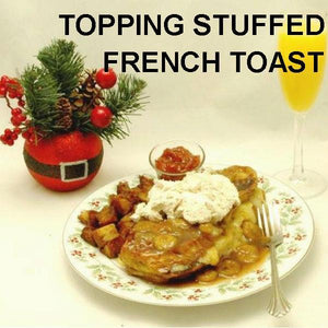 Brie Stuffed French Toast and sauteed bananas with Bananas Foster Mousse topping Christmas