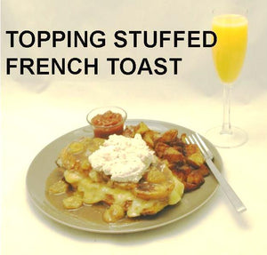 Brie Stuffed French Toast and sauteed bananas with Bananas Foster Mousse topping, served with a mimosa