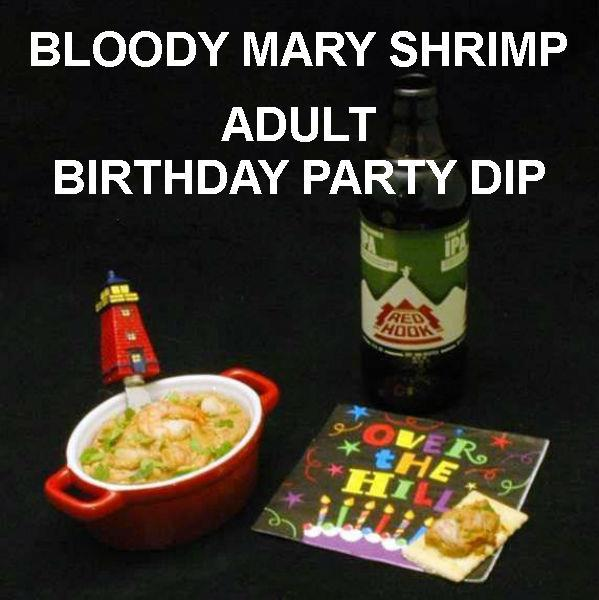 Bloody Mary Shrimp Dip on crackers, served with ale for adult birthday party