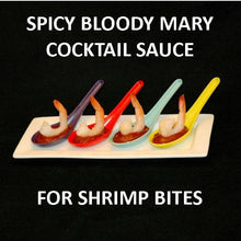 Load image into Gallery viewer, Bloody Mary Shrimp Cocktail Bites in multi colored tasting spoons Summer