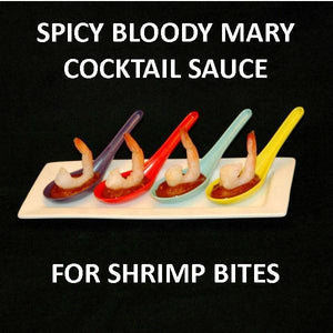 Bloody Mary Shrimp Cocktail Bites in multi colored tasting spoons Summer