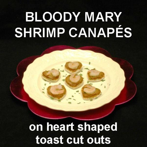 Bloody Mary Shrimp Canapés on heart shaped toast pieces Valentine's