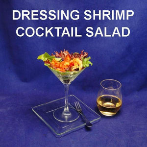 Bloody Mary Shrimp Cocktail Salad in martini glass served with white wine