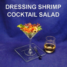 Load image into Gallery viewer, Bloody Mary Shrimp Cocktail Salad in martini glass served with white wine