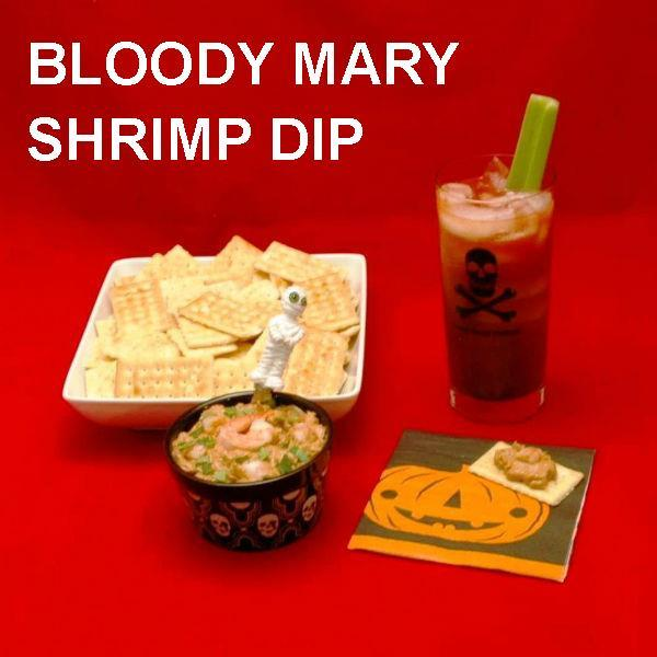Haloween Bloody Mary Shrimp Dip and Bloody Mary cocktail