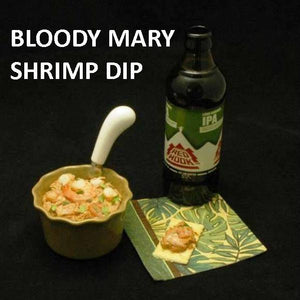 Bloody Mary Shrimp Dip with craft ale Summer