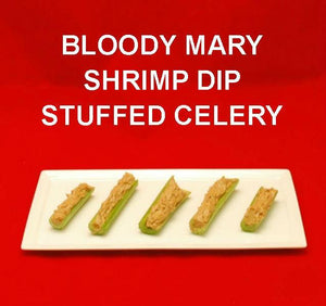 Bloody Mary Shrimp Dip stuffed celery