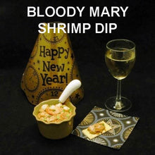 Load image into Gallery viewer, Bloody Mary Shrimp Dip with crackers and white wine New Year's