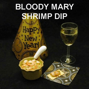 Bloody Mary Shrimp Dip with crackers and white wine New Year's