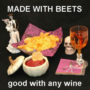 Bombay Mashed Beets Vegetarian chip dip with wine Hallow