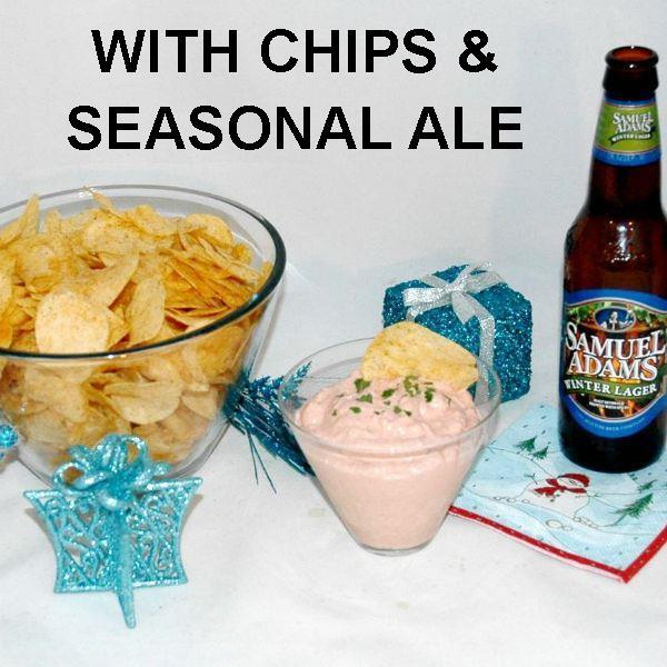 Bombay Mayonnaise and Sour Cream Chip Dip with seasonal ale Christmas