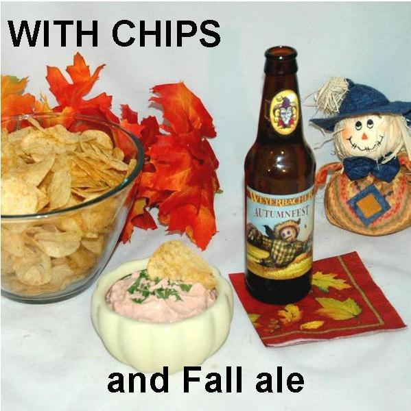 Bombay Mayonnaise and Sour Cream Chip Dip with fall ale