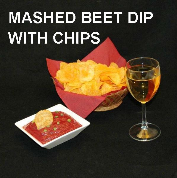 Bombay Mashed Beets Vegetarian chip dip served with wine