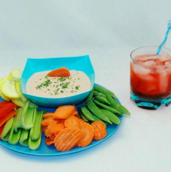 Bombay Mayonnaise and Sour Cream Dip with fresh veggie dippers Summer