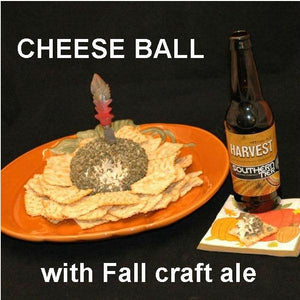 Buffalo Garlic Blue Cheese Ball with crackers and fall craft ale