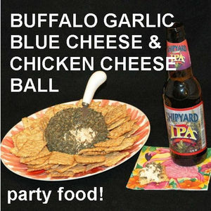 Buffalo Garlic Blue Cheese Ball with crackers Summer