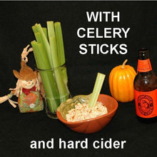 Load image into Gallery viewer, Buffalo Garlic Blue Cheese Dip with celery stalk dippers and hard cider Fall
