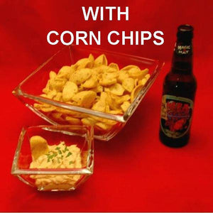 Buffalo Garlic Blue Cheese Dip with corn chips served with ale