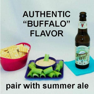 Buffalo Garlic Blue Cheese Dip with crackers and celery sticks, with summer ale
